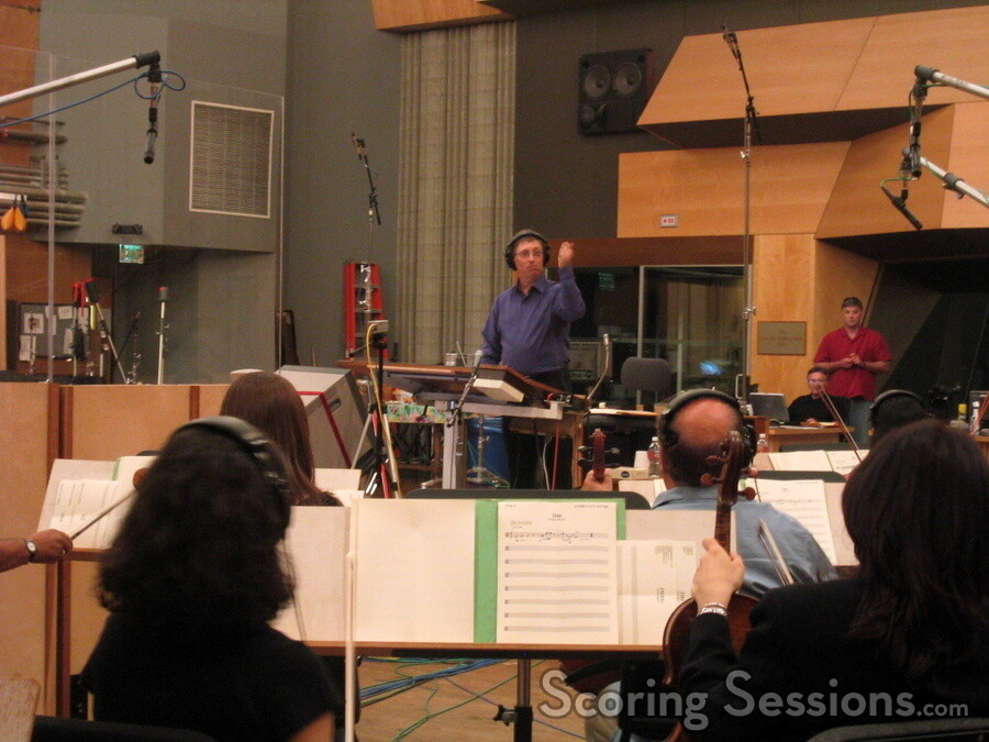 Ron Jones conducting the Family Guy orchestra at the Newman Scoring stage
