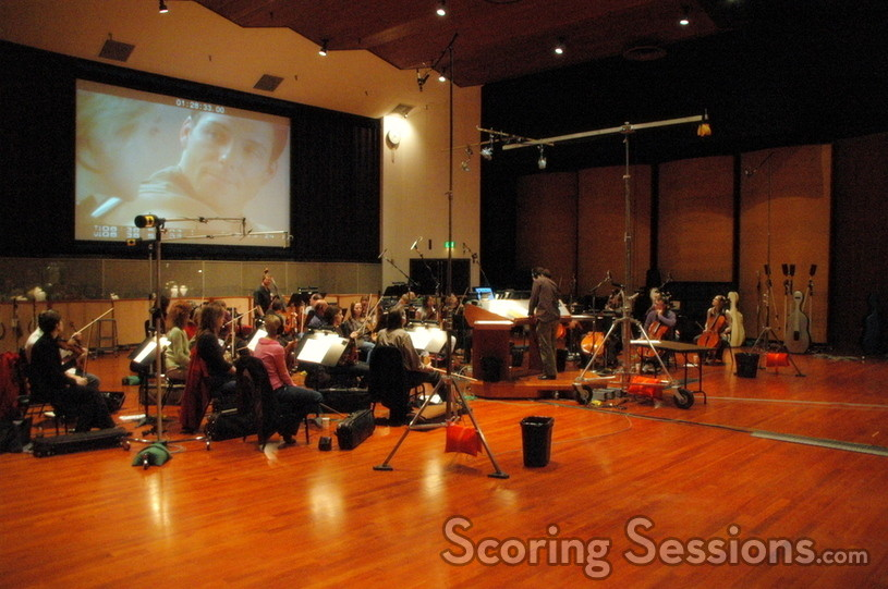 Bear McCreary conducts the Hollywood Studio Symphony string orchestra