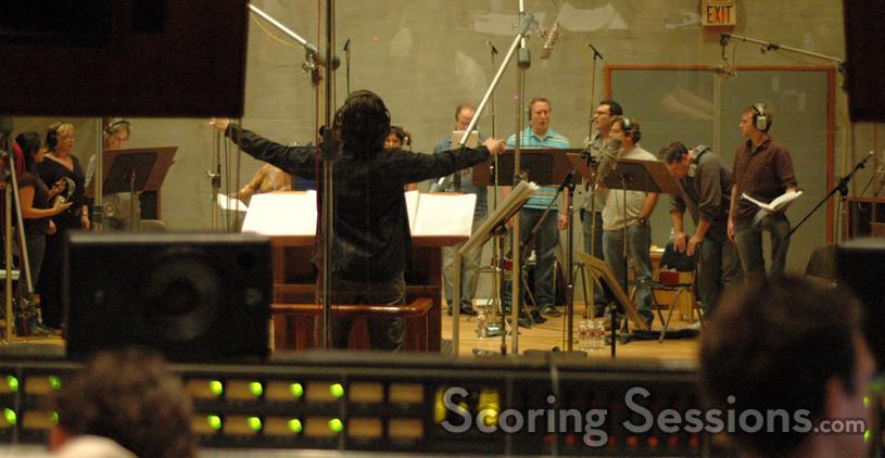 Bear McCreary conducts the choir