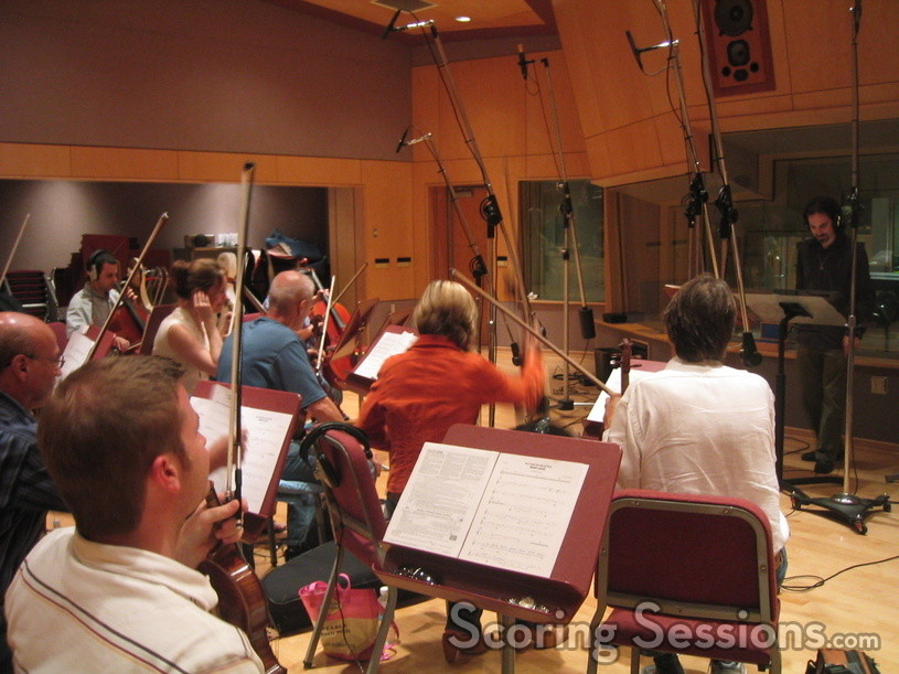 Bear McCreary conducts a string session for Battlestar Galactica