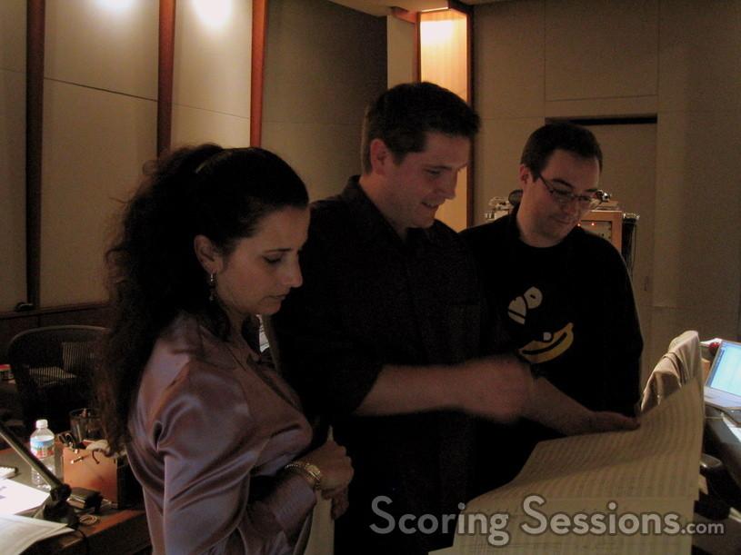 Violinist Julie Gigante, composer Jasper Randall, and director Nicholas Peterson