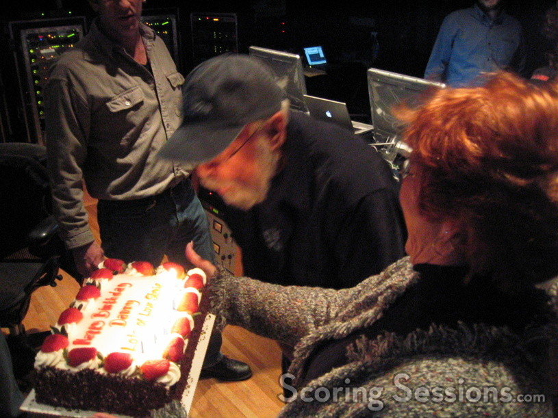 Score mixer Dan Wallin celebrates his 79th birthday during the mix at Paramount