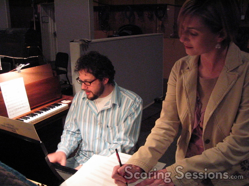 Music Librarian Jennifer Hammond makes changes to the score, as requested by composer Michael Giacchino