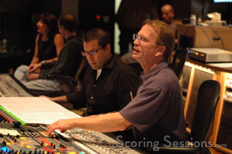 Chris Lennertz and scoring mixer Jeff Vaughn record percussion