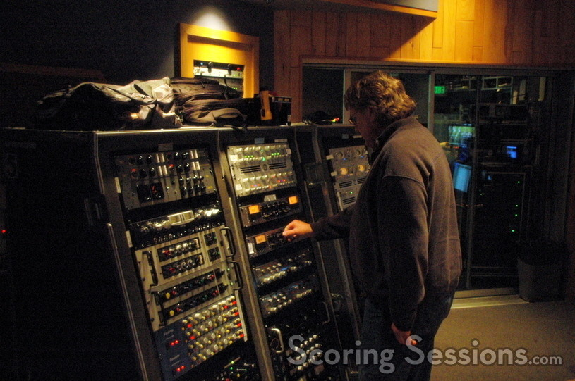 Score Mixer Steve Kempster adjusts the pre-amps