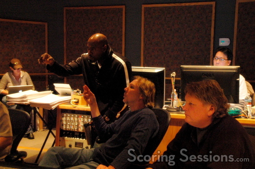 Director Antoine Fuqua discusses a cue with Composer Mark Mancina
