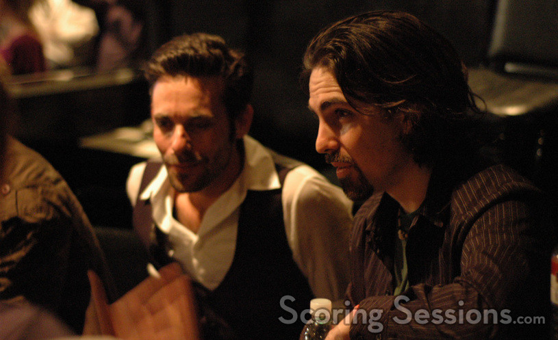 James Callis (l) and Bear McCreary (r) speak with press after the concert.
