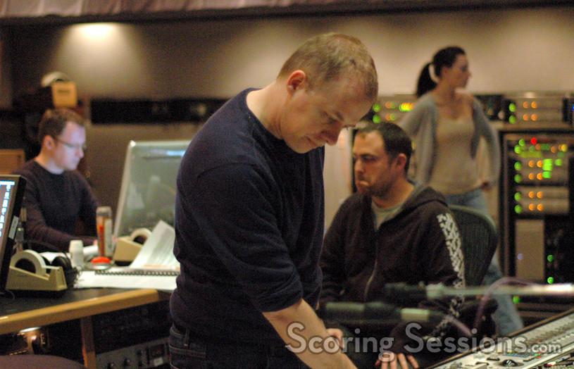 Composer Ed Shearmur, scoring mixer Chris Fogel and assistant Kayla Schmah