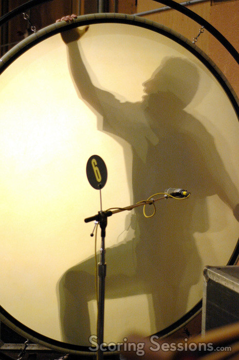 Percussionist Wade Culbreath as seen through the gong drum