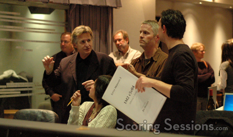 Contractor Peter Rotter, concertmaster Bruce Dukov, cellist Steve Erdody, conductor Blake Neely and composer Jim Dooley