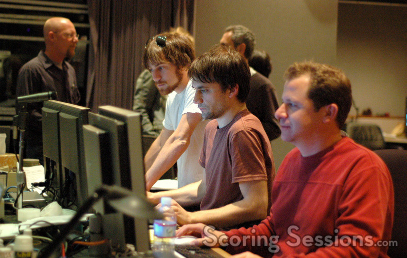 Disney executive Brett Swain, assistants Andy Kay and Nathan Whitehead and ProTools Recordist Kevin Globerman