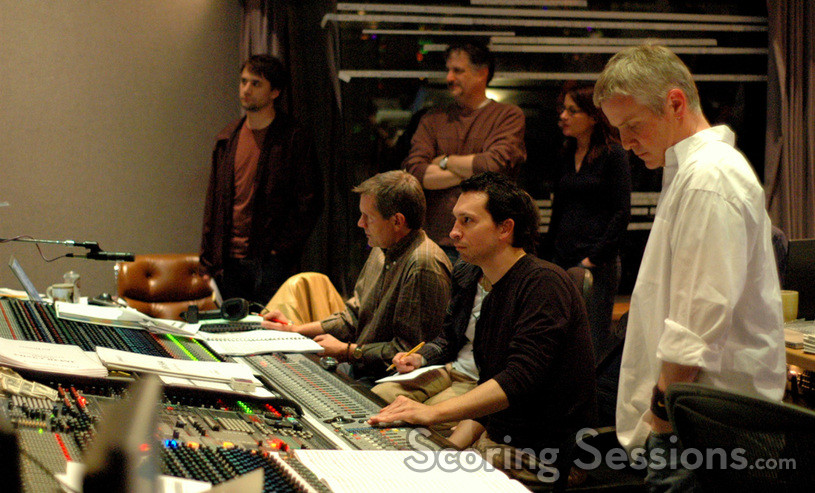 Assistant Nathan Whitehead, Disney exec Matt Walker, composer Jim Dooley and conductor Blake Neely