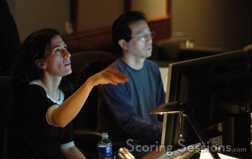 Composer Jeanine Tesori and ProTools recordist Larry Mah