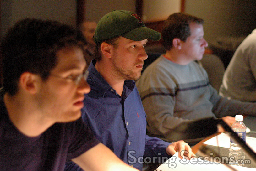 Composers Austin Wintory and Nathan Lanier with ProTools recordist Kevin Globerman
