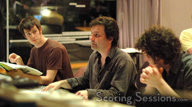 Chris Willis gives feedback to Rupert Gregson-Williams as Nick Wollage listens in