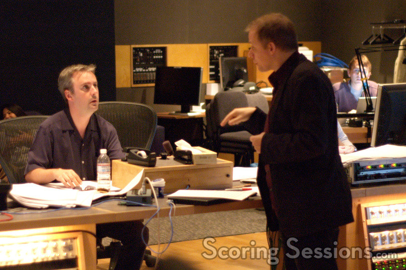 Orchestrator Kevin Kleish, composer Ed Shearmur and scoring assitant Chris Lane (rear)