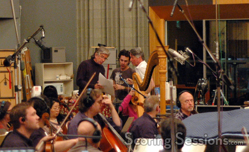 Music librarian Mark Graham, director Shawn Levy, and composer Alan Silvestri discuss a cue