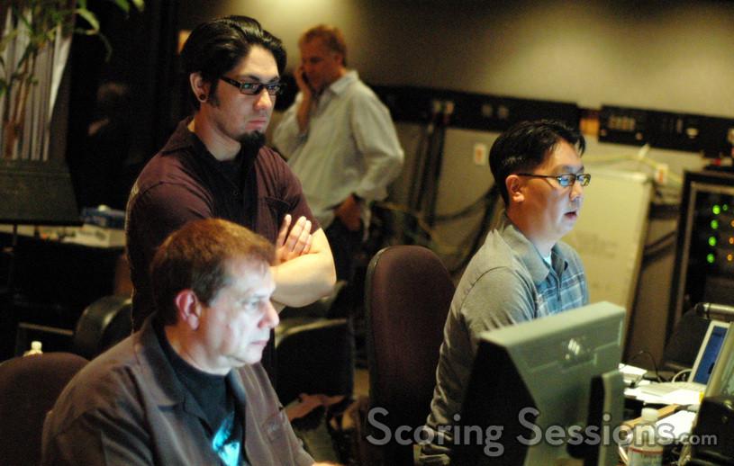 Music editor Mike Flicker, scoring assistant Marlon Espino and ProTools recordist Chuck Choi
