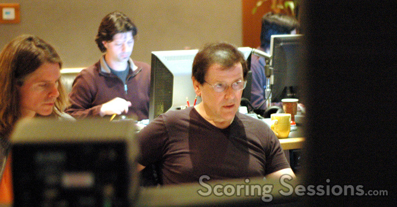 Score producer Paul Linford, music editor Robbie Boyd and composer Trevor Rabin