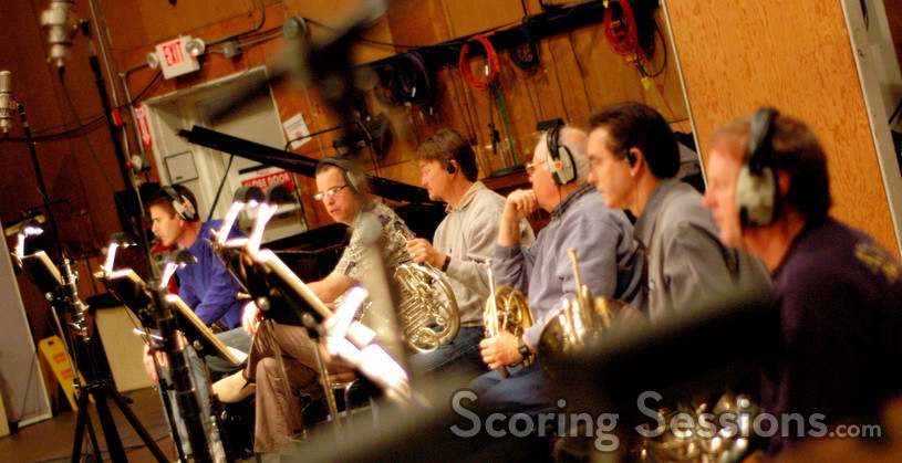 French horn players Steve Becknell, Mark Adams, Rick Todd, David Duke, Brian O'Connor, James Thatcher (Lead)