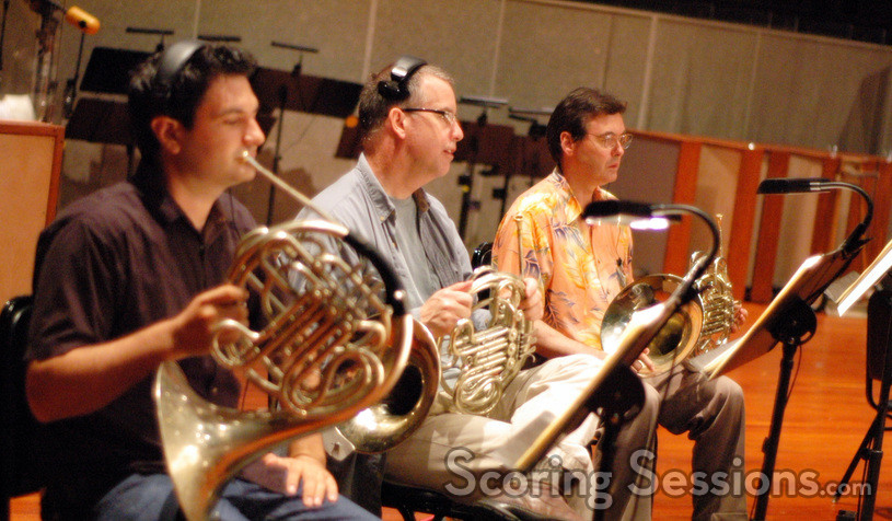French horn players Dylan Hart, Mark Adams, Brian O'Conner