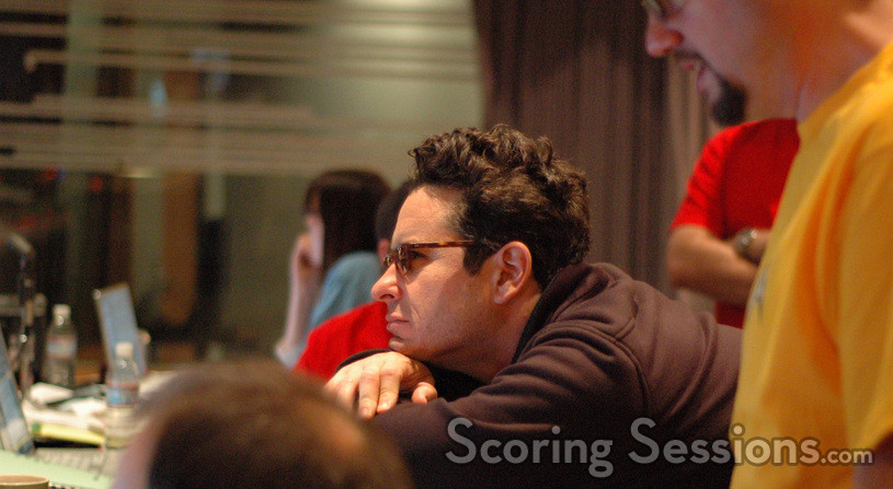 Director J.J. Abrams listens to a cue