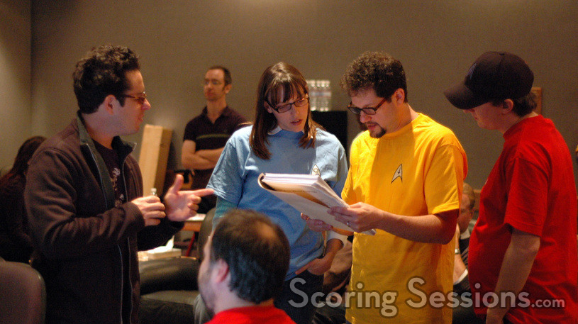 Director J.J. Abrams, scoring coordinator Andrea Datzman, composer Michael Giacchino, and additional orchestrator Chad Seiter