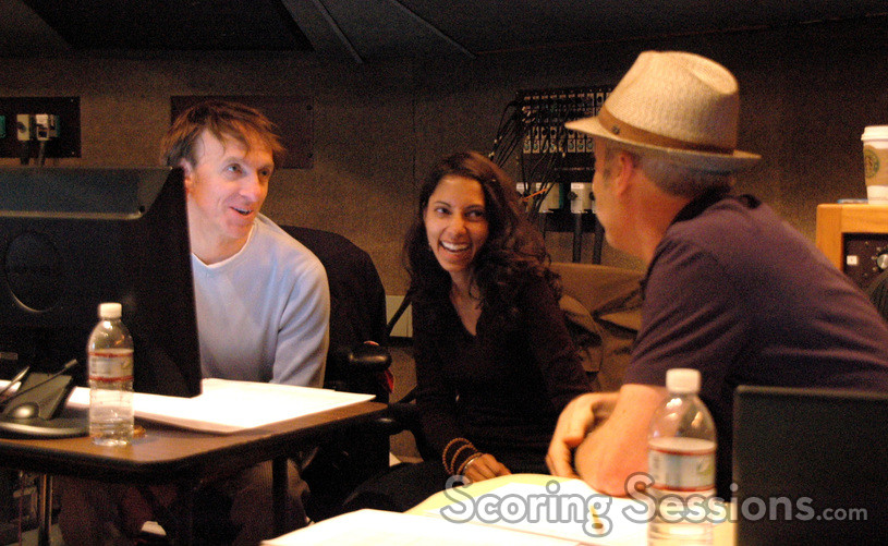 Composer Mychael Danna, scoring assistant Amritha Fernandes Bakshi and music editor Richard Ford