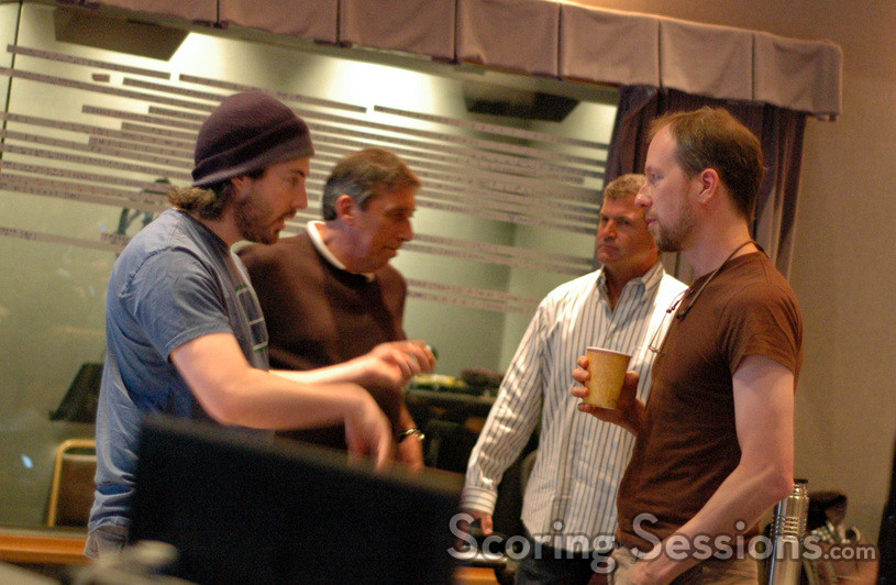 Director Jason Reitman, producer Ivan Reitman, orchestral contractor Dan Savant, and composer Rolfe Kent