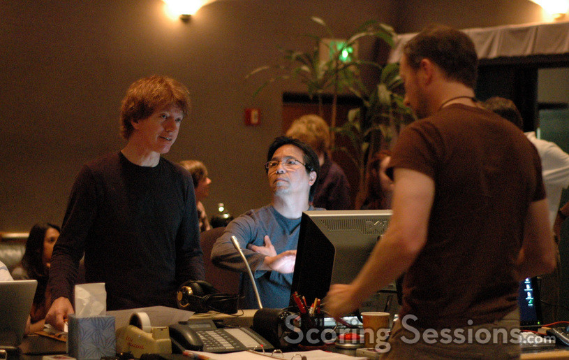 Music editor Nick south, ProTools recordist Larry Mah and composer Rolfe Kent