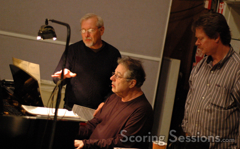 Orchestrator Brad Dechter talks with pianist Mike Lang and Mike Watts