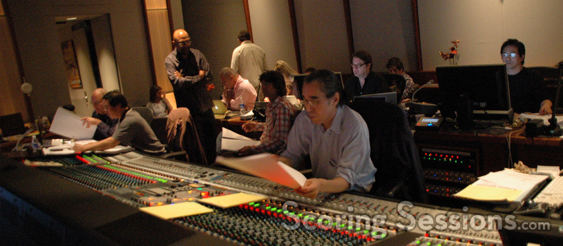 Orchestrator Milton Nelson with composer Nathan Wang, scoring mixer Joel Iwataki, and ProTools recordist Larry Mah