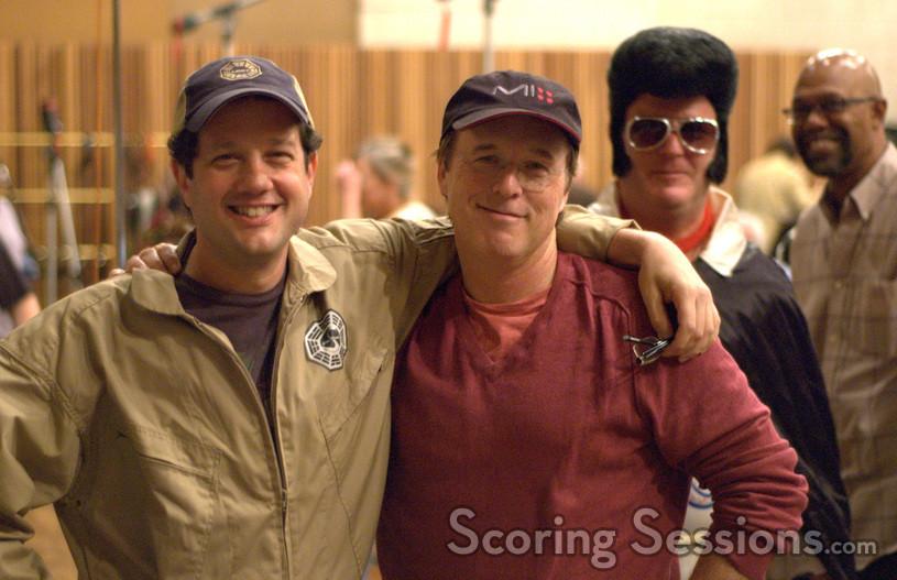 Composer Michael Giacchino, director Brad Bird, and Elvis