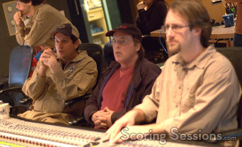Composer Michael Giacchino, director Brad Bird and music editor Alex Levy