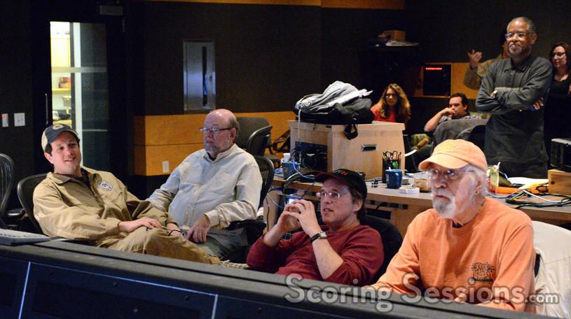 Composer Michael Giacchino, editor Paul Hirsch, director Brad Bird, and scoring mixer Dan Wallin