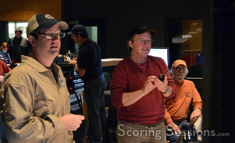 Composer Michael Giacchino and director Brad Bird listen to a cue