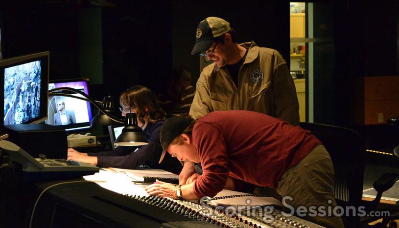 Score coordinator Andrea Datzman, composer Michael Giacchino and director Brad Bird