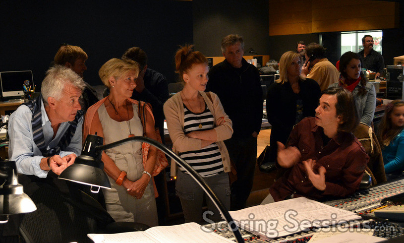 <i>The Smurfs</i> actress Jayma Mays and her family visits Heitor Pereira at the scoring stage