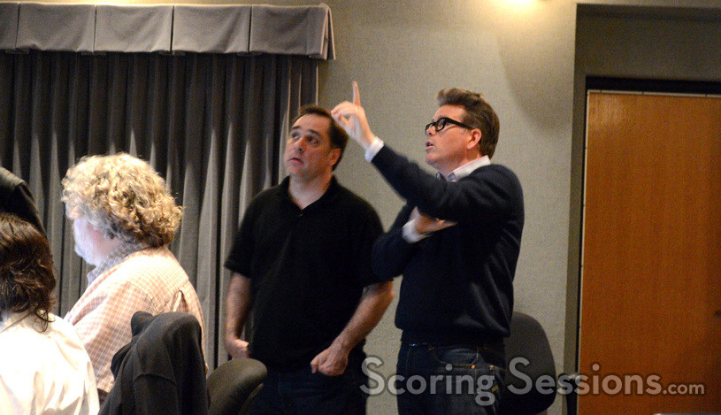 Music editor John Finklea, composer Joe Kraemer, and director Christopher McQuarrie