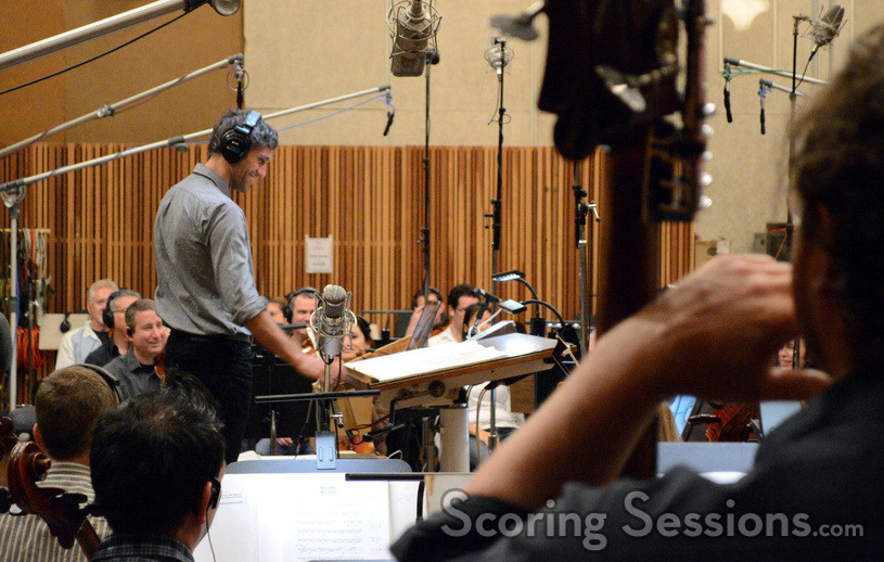 A view of composer/conductor Rob Simonsen from the basses