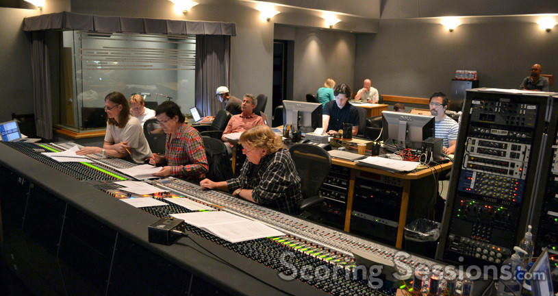 The control booth: (front row) scoring mixer Paul Linford, composer Trevor Rabin, orchestra mixer Steve Kempster; (back row) director Peter Segal, music editor Robbie Boyd, ProTools recordist Larry Mah