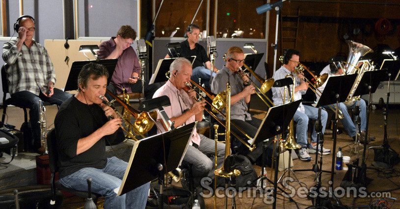 The brass section: trumpets - Dan Fornero, Wayne Bergeron, and Tony Ellis; trombones - Charlie Morillas, Andrew Martin, Phil Keen, and Steve Trapani; Tuba - Gary Hickman