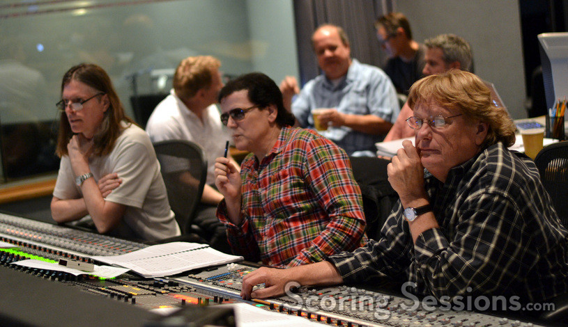 Scoring mixer Paul Linford, composer Trevor Rabin, and orchestra mixer Steve Kempster