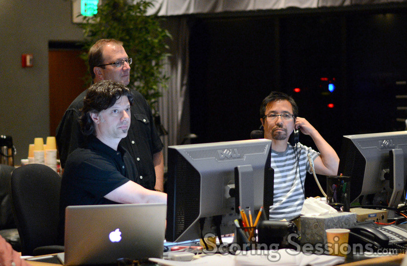 Music editor Robbie Boyd, orchestra contractor Peter Rotter, and ProTools recordist Larry Mah