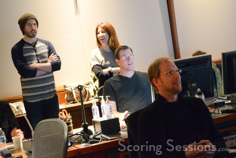 Director Jason Reitman, film editor Dana Glauberman, ProTools recordist Ryan Robinson, and composer Rolfe Kent