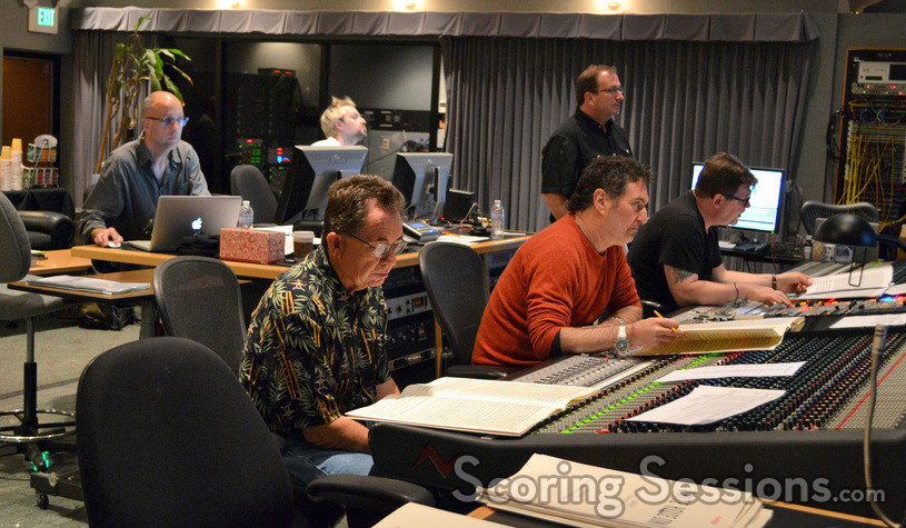 Back: Music editor Fernand Bos, stage recordist Adam Michalak, and orchestra contractor Peter Rotter; front: music copyist Ross deRoche, composer Harald Kloser, and scoring mixer Alan Meyerson