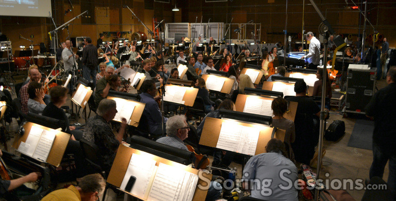 Tim Davies and the orchestra prepare to record