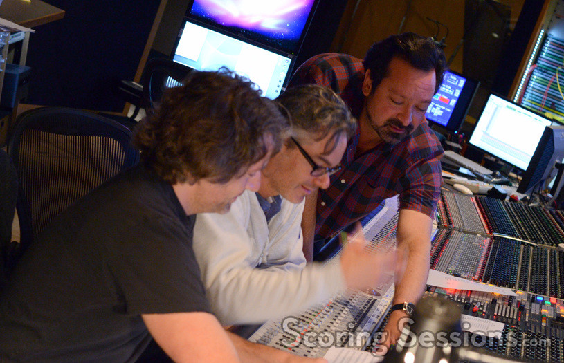 Director James Mangold (right) gives feedback to additional music composer Buck Sanders (left) and composer Marco Beltrami (center)