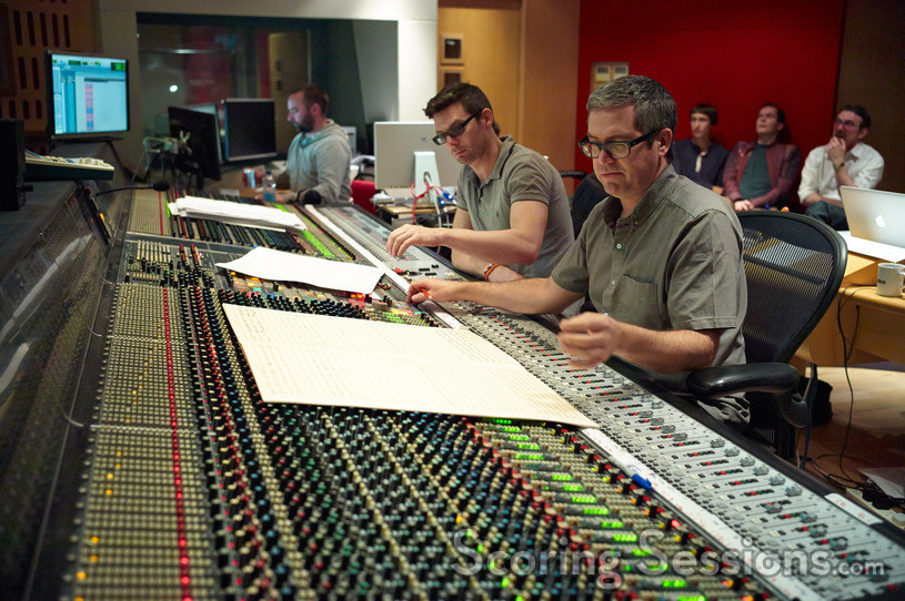 Score engineer Nick Wollage and composer John Powell