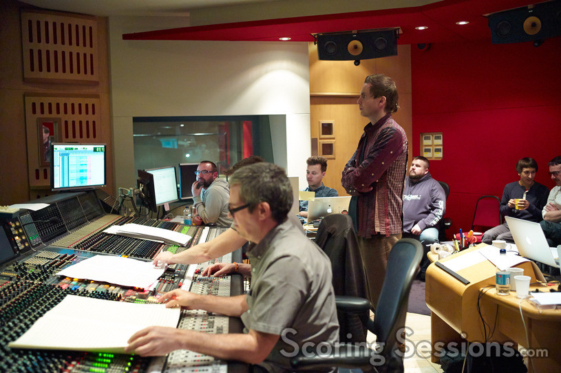 Composer John Powell with recording artist Jonsi at the scoring session for <i>How to Train Your Dragon 2</i>